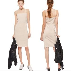 TopShop Pink Spaghetti Strap Bodycon Midi Dress